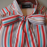 FREE SHIPPING Vintage Panther Vertical Stipe Blouse Shirt with Necktie, Bow Accent, Size Small/Medium