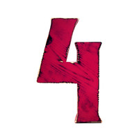 Rustic Wooden Number Four (Pictured In Berry) Hanging Wall Sign Anniversary Gift Birthday Party Decor Wooden Sign Large Wooden Number
