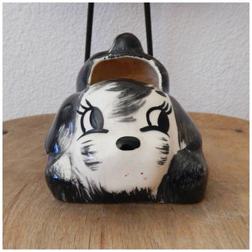Vintage Black White Puppy Dog Figurine Sirene Ceramic Planter Character Cartoon