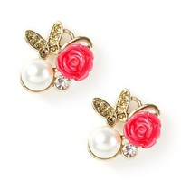 Carved Rose, Pearl and Butterfly Stud Earrings  | Icing