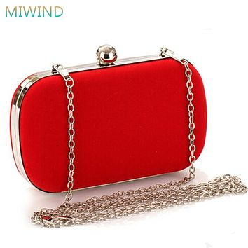 MIWIND Female Corduroy Evening Bag Red/Black Day Cluthes Hot Handbag with Alloy Shoulder Chain Hard Box Purse for Party EB32