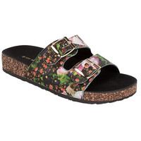 Black Floral Two Buckle Sandal