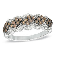 3/4 CT. T.W. Enhanced Champagne and White Diamond Cascading Ring in 10K White Gold