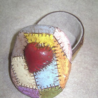 Patchwork Box with Heart, Nightmare Before Christmas Sally inspired trinket box, polymer clay box