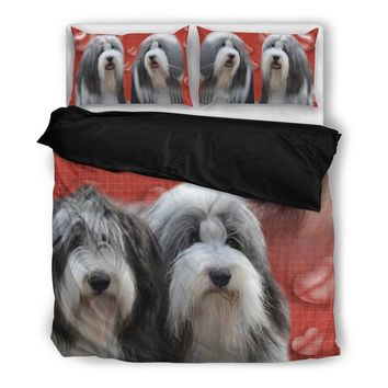 Valentine's Day Special-Bearded Collie Red Print Bedding Set-Free Shipping