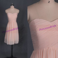 2014 short pearl pink chiffon bridesmaid dresses,simple dress for wedding party,cheap sweetheart prom gowns,affordable bridesmaid gowns.