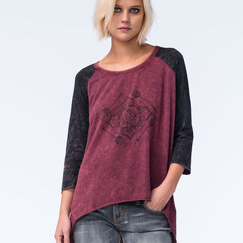 Sea Gypsies Watch Tower Womens Raglan Tee Burgundy  In Sizes