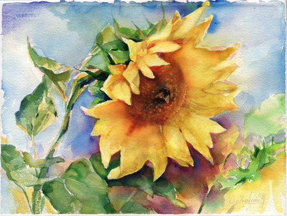Sunflower painting original watercolor from olgasternyk