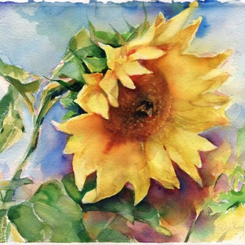 Sunflower painting - original watercolor sunflower with a bumblebee on paper, print available