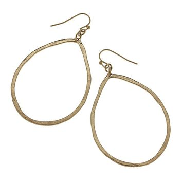 WOMENS WORN GOLD ARTISAN HAMMERED OPEN TEARDROP EARRINGS