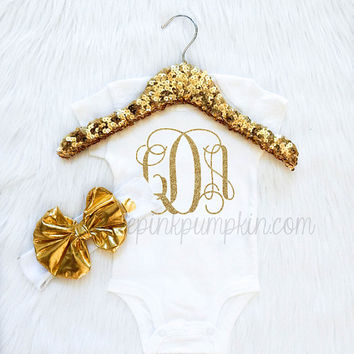 Baby Girl Clothes, baby monogrammed gifts, shirt, bodysuit, coming home outfit, take home outfit, gold metallic bow headband, trendy baby