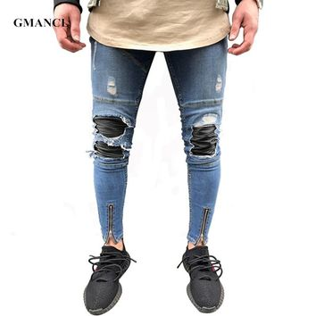 GMANCL Men Jeans Stretch Destroyed Ripped Folds Design Fashion Ankle Zipper Skinny biker Jeans For Men Jogger pants Plus Size 38