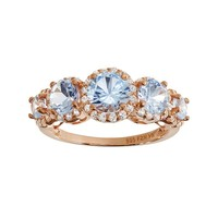 Lab-Created Aquamarine & Lab-Created White Sapphire 14k Rose Gold Over Silver 5-Stone Halo Ring (Blue)
