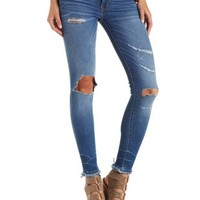 Sneak Peek Distressed & Cropped Cut-Off Jeans