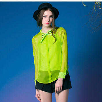 Fluorescent Green Chiffon Blouse