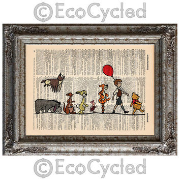 Winnie the Pooh and Friends on Vintage Upcycled Dictionary Art Print Book Art Print Disney