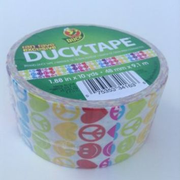 Duck Brand Peace Love & Happiness Fan Fave Exclusive Printed Duct Tape, Multicolor Smiley Peace Hearts, 1.88 in X 10 Yards, Single Roll
