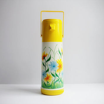 Vintage Yellow Aladdin Pump Top Thermos With Lovely Wildflower Pattern / Great for Travel / Coffee / Tea
