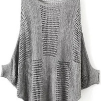 Grey Batwing Sleeve Cutout Sweater