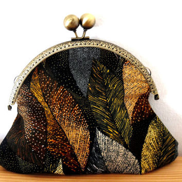 Autumn leaf print/gold/black/brown/cosmetics/small clutch bag/purse