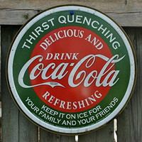 Coca Cola Coke Logo Thirst Quenching Green Round Distressed Retro Vintage Tin Sign