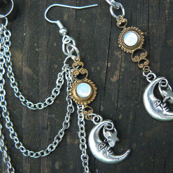 moon and star ear cuff  SET white opal glass in moon goddess new age belly dancer celestial gypsy hippie morrocan boho and hipster style