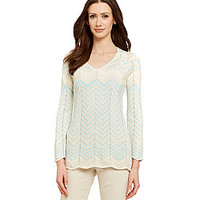 Nurture Metallic Chevron Sweater - Mint/Neutral