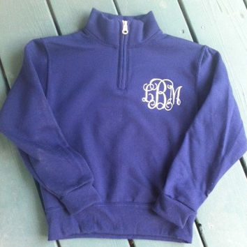 Youth Sized Monogrammed 1/4 Zip sweatshirt pullover