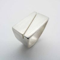 Rectangle ring / solid silver ring / mens big silver ring / silver statement ring / mens heavy silver ring