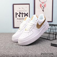 KUYOU N919 Nike Air Force 1 AF1 Low CR7 Fashion Comfortable Skate Shoes White Gold