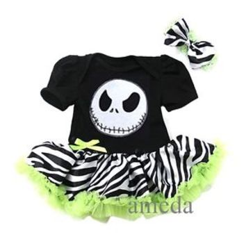 Halloween Baby Nightmare Before Christmas Jack Zebra Bodysuit Tutu Romper NB-18M