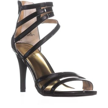 TS35 Karlee Strappy Zip-Up Sandals , Black Patent, 9.5 US