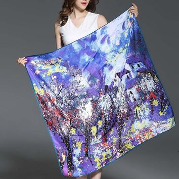 Large Square Silk Scarf wrap