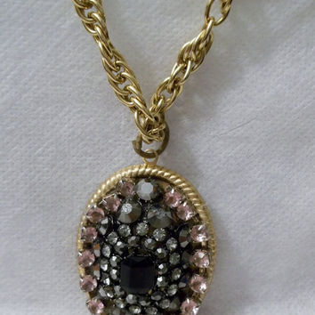 Smoky Black Rhinestones with Palest of Pale Pink Rhinestone Necklace, Pendant, Gold Tone Setting and New Chain, Oval, OOAK, Handmade Pendant