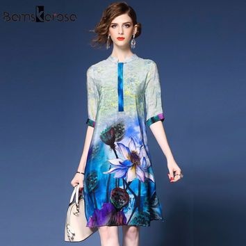 Bamskarosa New Women Summer Dress 2017 Chinese Style Blue Flower Print Ladies Casual Vintage Dress Plus Size Women Clothing