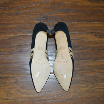 Vintage 90s Never Worn Jazz Velvet Leather Pumps