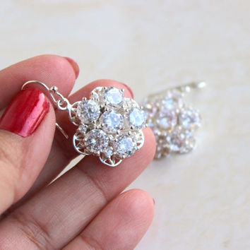 Bridal Earrings Cubic Zirconia Floral CZ Sterling Silver AE1B