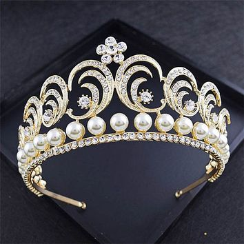 Fashion Pearls Tiara Crown Bridal Headdress Princess Queen King Cosplay