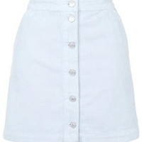 MOTO Cord Button Front A-Line Skirt - Baby Blue