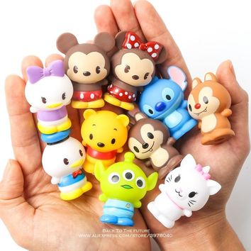 Disney Mickey Mouse Stitch Winnie the Pooh 10pcs/set 4.5cm Action Figure Posture Anime Decoration Collection Figurine Toy model