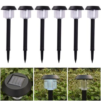 6 LED Solar Power Outdoor Path Light Spot Lamp Yard Garden Lawn Landscape White