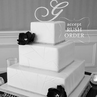 A-Z Initial Silver METAL Wedding B Cake Toppers, Fine Set-In Rhinestones in any letter