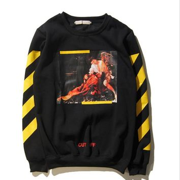 G-Dragon off white Religious Oil Painting Graffiti Oblique Stripe Hooded Sweater Round necked men and women jacket Black