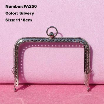 PA250 Purse Frame Hanger Embossing Square Circle 11*8cm Silvery Metal Clasps Purses Accessories Handles Handbags Diy Bag Parts
