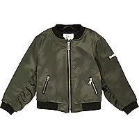 Mini girls khaki satin bomber jacket