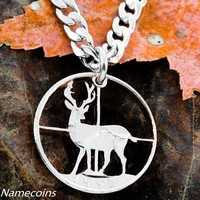Deer hunting Jewelry, Cross hairs necklace, hand cut coin