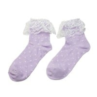 Women's Girl's Princess Dot Lace Ruffle Frilly Cotton Short Ankle Socks (One size, Purple)