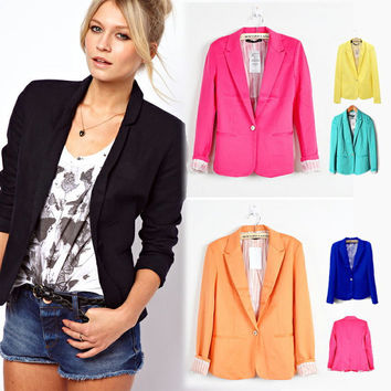 new hot stylish and comfortable women's Blazers Candy color lined with striped  suit