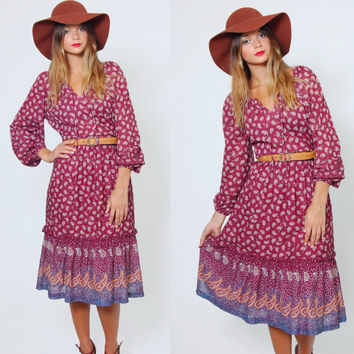 Vintage 70s PAISLEY Boho Midi Dress Long Sleeve FLORAL Print Dress Burgundy Hippie Midi Dress Festival
