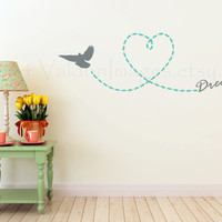 Let your dreams soar wall decal, inspirational wall sticker, wall graphic, living room decal, bedroom decal, vinyl decal, graphic decal